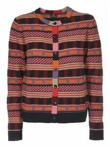 Multicolor Cardigan With Geometric Pattern
