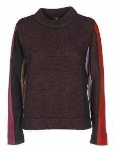 Pullover In Melange Purpled With Lurex Sleeves