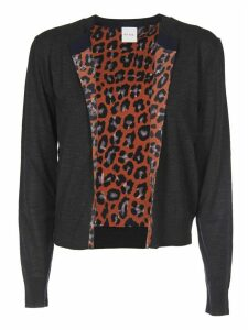 Grey Cardigan With Orange Animalier Lining