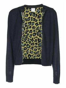 Blue Cardigan With Animalier Lining