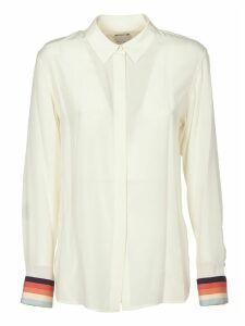 Silk Shirt In Ivory Color With Multicolor Details