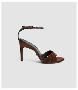Reiss Hayden - Velvet Cross Front Sandals in Rust, Womens, Size 8