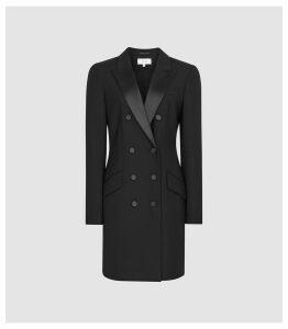 Reiss Sofia - Wool Blend Tuxedo Dress in Black, Womens, Size 16