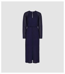 Reiss Mylee - Keyhole Midi Chiffon Dress in Purple, Womens, Size 16