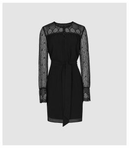 Reiss Callista - Lace Detail Belted Mini Dress in Black, Womens, Size 16
