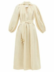 Lisa Marie Fernandez - Poet Balloon-sleeve Linen-blend Dress - Womens - Beige