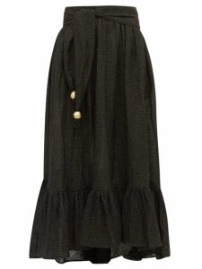 Lisa Marie Fernandez - Nicole Dipped-hem Linen-blend Maxi Skirt - Womens - Black