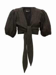 Lisa Marie Fernandez - Pouf Balloon-sleeve Tie-front Linen-blend Top - Womens - Black