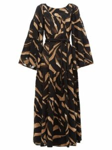 Lisa Marie Fernandez - Peasant Abstract-print Tiered Crepe Maxi Dress - Womens - Brown Print