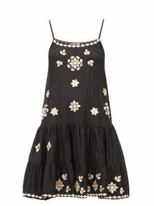 Juliet Dunn - Mirror-embellished Silk Mini Dress - Womens - Black