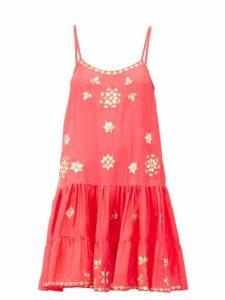 Juliet Dunn - Mirror-embroidered Ruffled-hem Silk Mini Dress - Womens - Pink