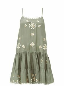 Juliet Dunn - Mirror-embellished Silk Mini Dress - Womens - Khaki