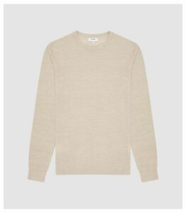 Reiss Wessex - Merino Wool Jumper in Stone Mouline, Mens, Size XXL
