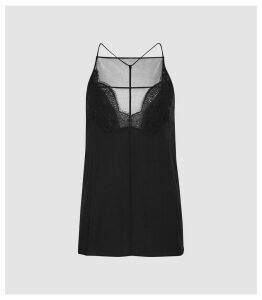 Reiss Abbie - Crepe Lace Cami in Black, Womens, Size 16