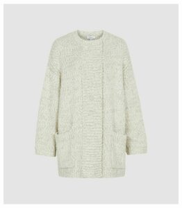 Reiss Orla - Textured Oversized Cardigan in Grey, Womens, Size XXL