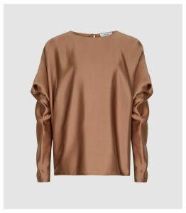 Reiss Keira - Silk Blend Top in Nude, Womens, Size 18