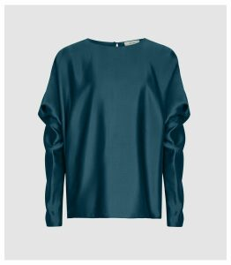 Reiss Keira - Silk Blend Top in Teal, Womens, Size 18