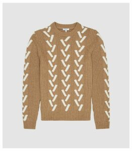 Reiss Bronson - Colour Block Knit Jumper in Camel, Mens, Size XXL