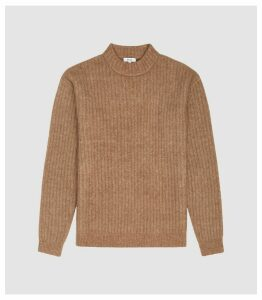 Reiss Teddy - Ribbed Knit Jumper in Camel, Mens, Size XXL