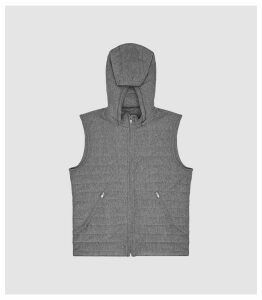 Reiss Boxley - Detachable Hooded Quilted Gilet in Charcoal, Mens, Size XXL
