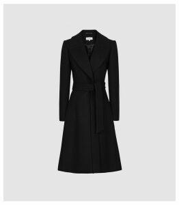 Reiss Hessie - Wool Blend Belted Overcoat in Black, Womens, Size 14