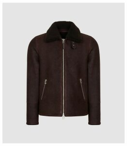 Reiss Rogan - Shearling Jacket in Bordeaux, Mens, Size XXL