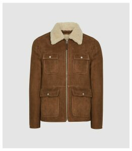Reiss Church - Four Pocket Shearling Jacket in Brown, Mens, Size XXL