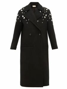 Christopher Kane - Crystal-embellished Wool-blend Coat - Womens - Black