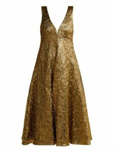 Rochas - Metallic-bouclé Foil-effect Midi Dress - Womens - Gold