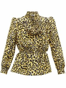 Gucci - Leopard-print Silk Crepe De Chine Blouse - Womens - Black Yellow