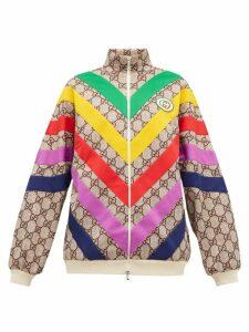 Gucci - Supreme-jacquard Rainbow-appliqué Track Jacket - Womens - Brown Multi