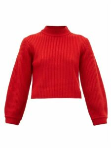 Tibi - Balloon-sleeve Merino-wool Sweater - Womens - Red