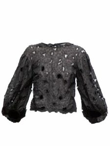 Cecilie Bahnsen - Agnes Floral-embroidered Silk-blend Organza Blouse - Womens - Black