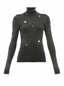 Christopher Kane - Crystal Embellished Roll Neck Lamé Sweater - Womens - Dark Grey