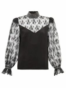 Christopher Kane - Crystal Embellished Lace And Satin Blouse - Womens - Black
