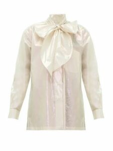 Christopher Kane - Pussy Bow Iridescent Cotton Blouse - Womens - Cream