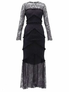 Emilio De La Morena - Lace-trim Sheer Hem Gown - Womens - Navy Multi