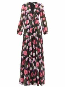 Borgo De Nor - Freya Floral-print Banded Silk-chiffon Maxi Dress - Womens - Black Multi