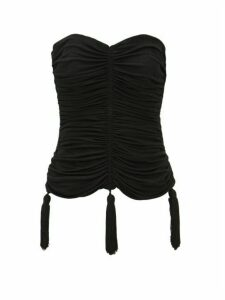 William Vintage - Ysl Rive Gauche 1980s Ruched Jersey Bustier - Womens - Black