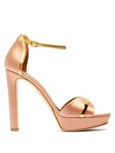 Malone Souliers - Miranda Satin Platform Sandals - Womens - Pink Gold