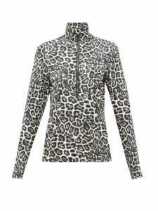 Goldbergh - Lilja Leopard Print Half Zip Thermal Top - Womens - Leopard
