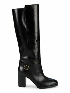 Gomma Block-Heel Leather Knee-High Boots