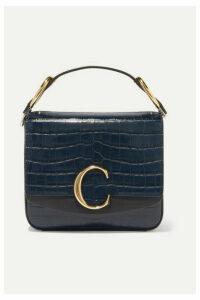 Chloé - Chloé C Small Leather-trimmed Croc-effect Shoulder Bag - Navy