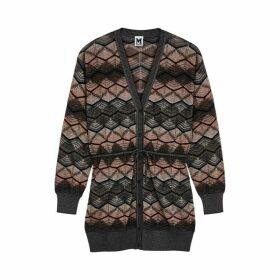 M Missoni Zigzag Metallic-knit Cardigan