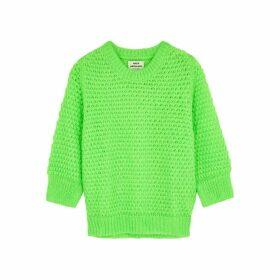 Mads Nørgaard Signal Kranola Neon Green Textured-knit Jumper