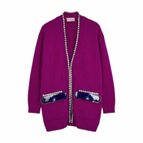 Christopher Kane Fuchsia Crystal-embellished Wool Cardigan