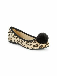 Girl's Leopard-Print Faux Calf Hair and Faux Fur Pom-Pom Flats