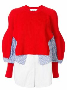 Enföld shirt-panelled jumper - Red