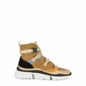 Chloé Sonnie 40 Camel Suede Hi-top Sneakers