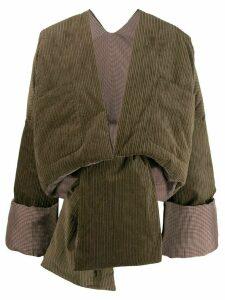 ASAI corduroy cropped puffer jacket - Green